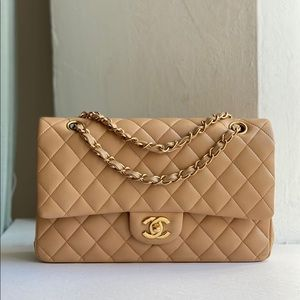 Chanel Medium Doible flap Tan bag with GHW